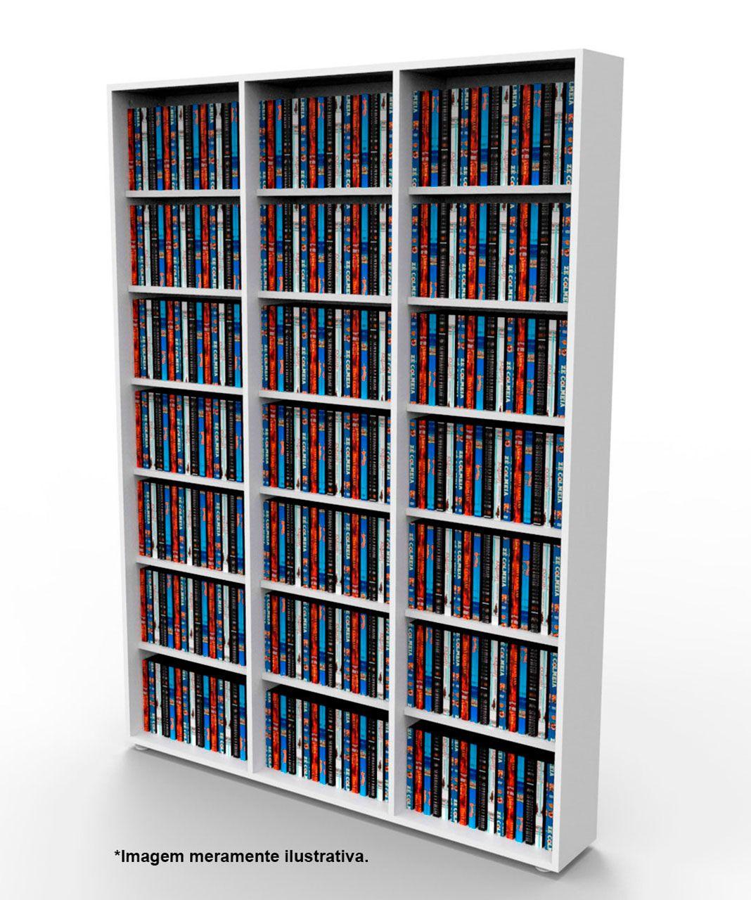 Estante para DVD Blu-ray 525 discos ou para gibis branca DV03BR Bürohaus