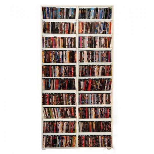 Estante para DVD/CD/Blu-ray/Gibi 350 DVDs/Blu-ray ou 680 CDs - Branco