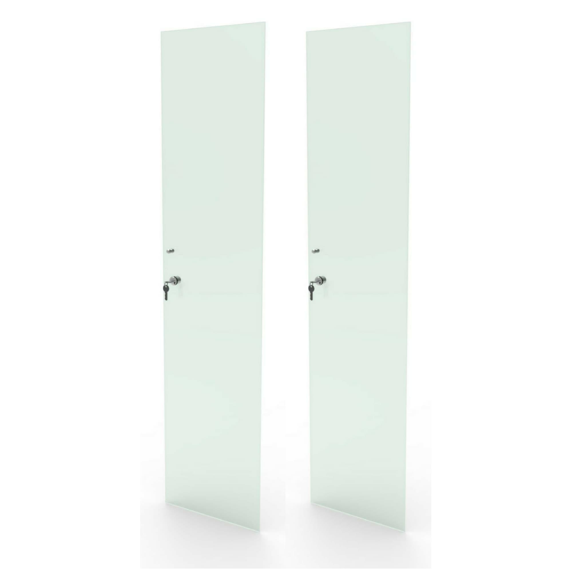 Kit 2 portas de vidro incolor com chave para estante CD e DV