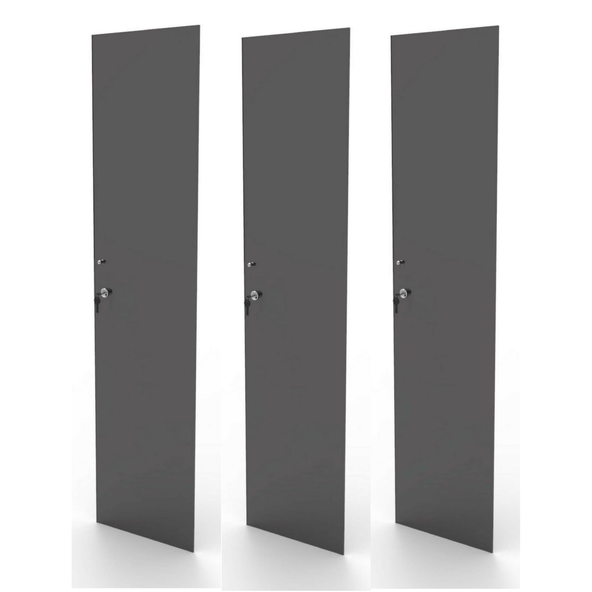 Kit 3 portas de vidro fumê com chave para estante CD e DV