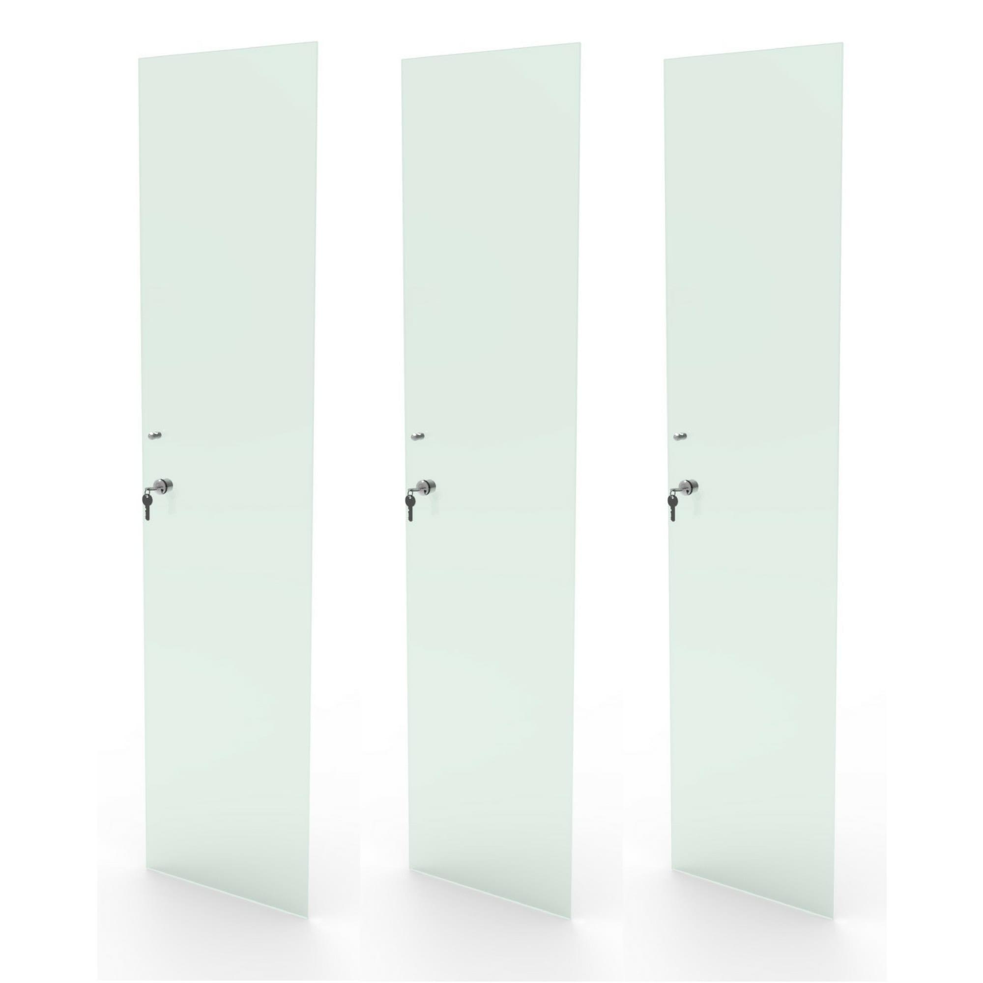 Kit 3 portas de vidro incolor com chave para estante CD e DV