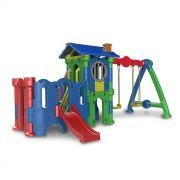 Playground de Plástico Torre do Castelo Petit + Castelo Petit + Balanço