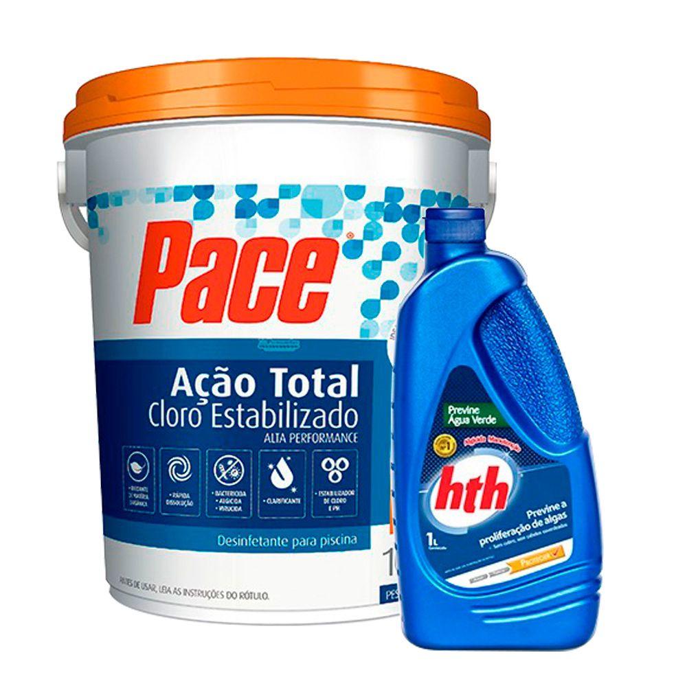 Combo 1 Cloro Pace 7 em 1 10Kg + 1 Algicida Manutenção de 1L