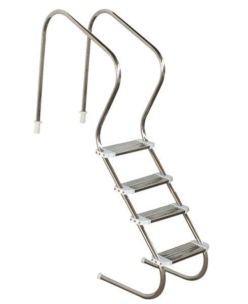 """Escada em Aço  Inox Confort 2"""" com 4 Degraus em Inox"""