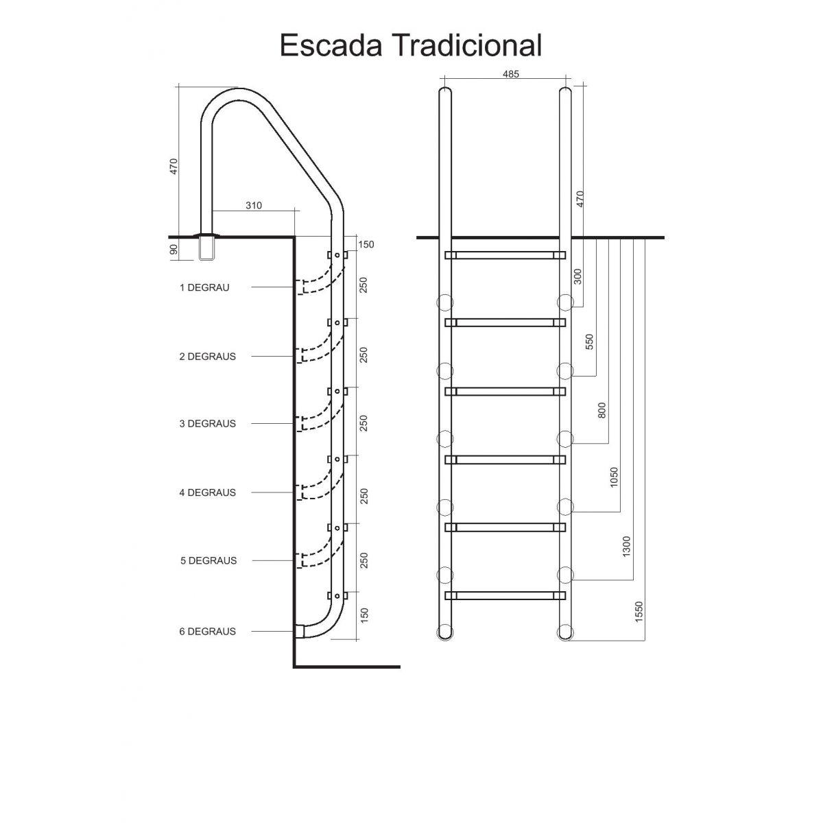 Escada para Piscina com Degraus em INOX Albacete