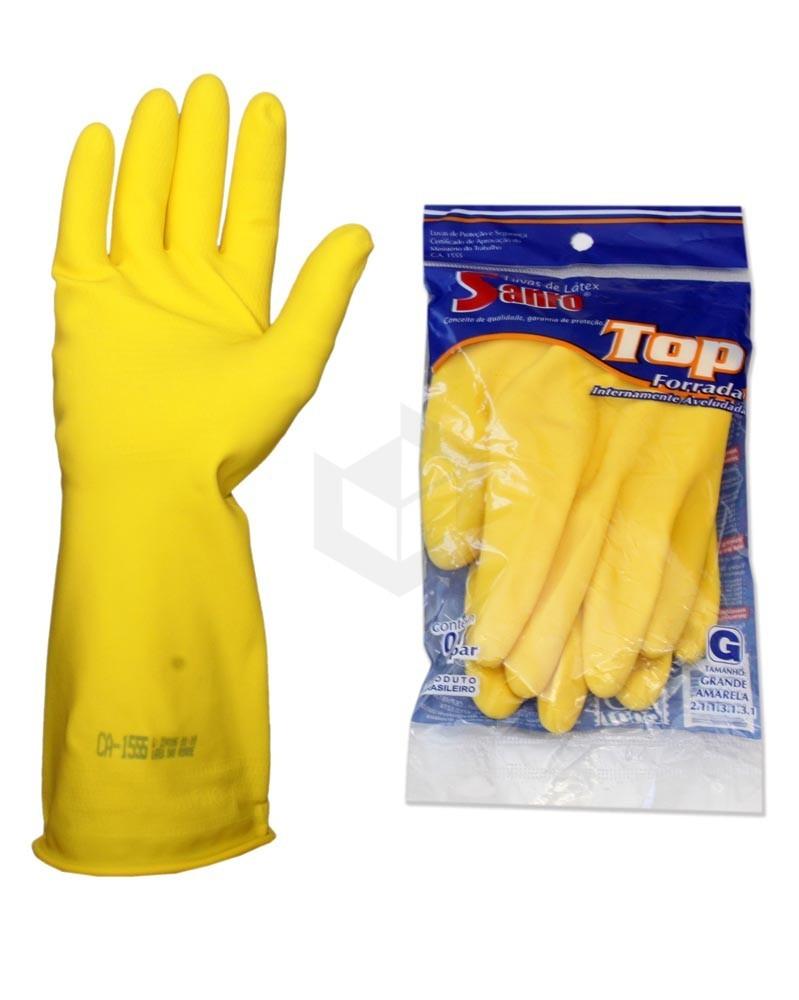 Luva para Limpeza Sanro Top Amarela Forrada