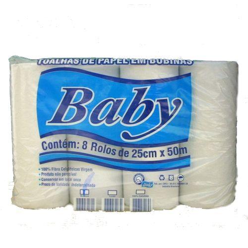 Papel Toalha Branco Bobina 8x25x50 Baby