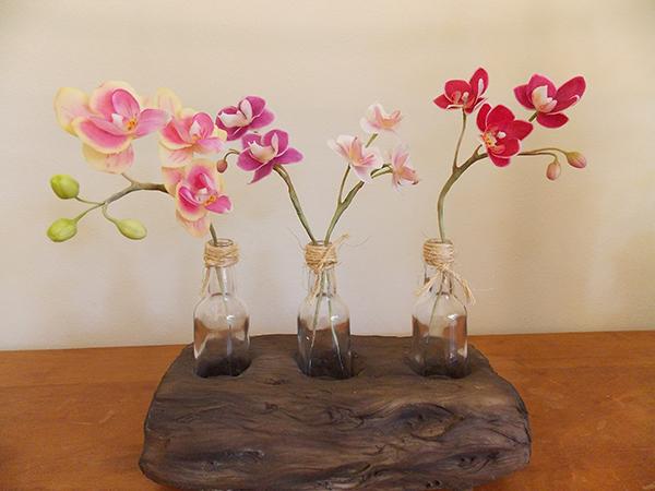 Vasos realistas - imitação madeira
