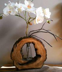 Vasos realistas imitação madeira