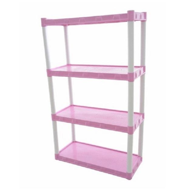 Estante  Plástica Modular Rosa Com  4 Prateleiras
