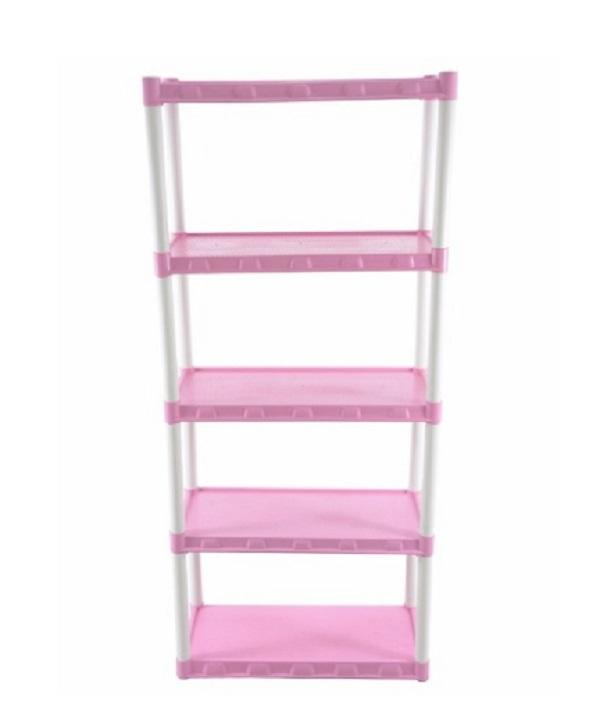 Estante  Plástica Modular Rosa Com 5 Prateleiras