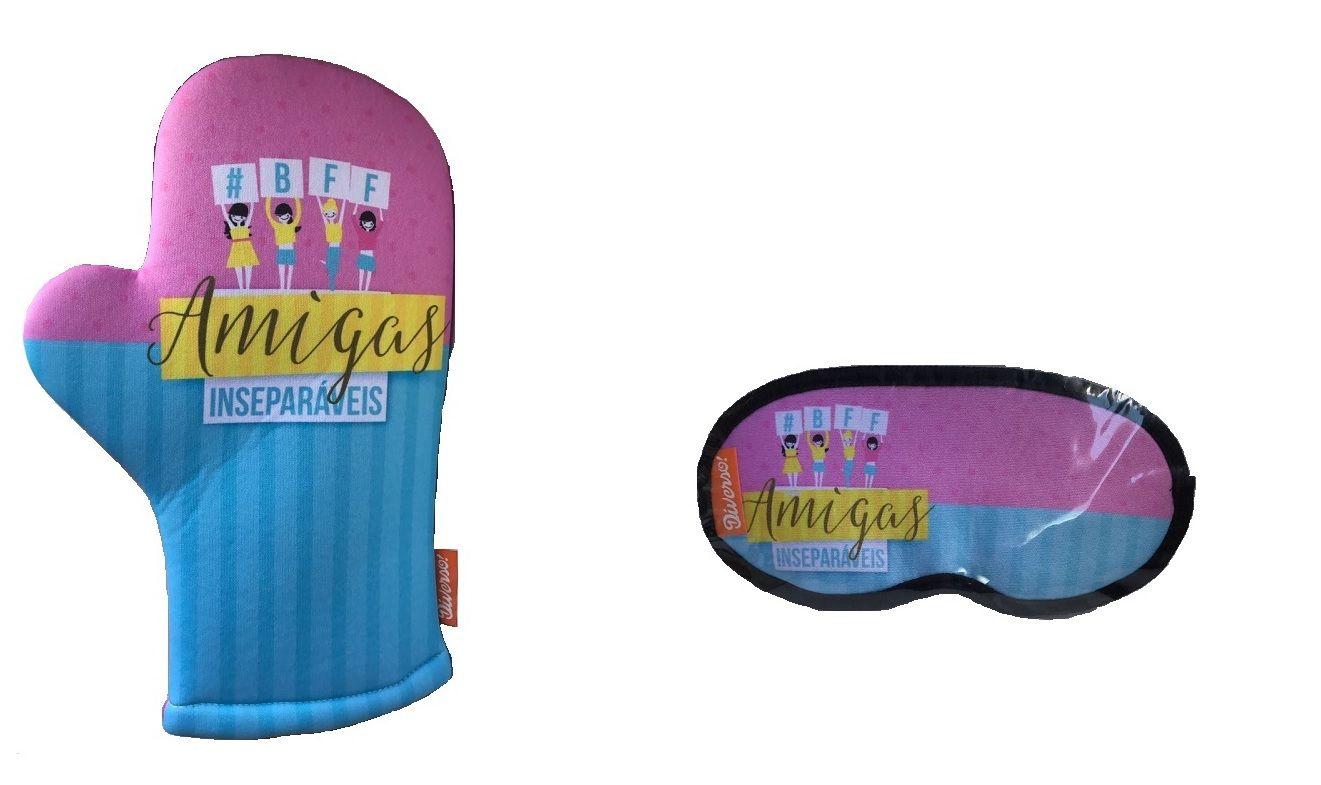 Kit 2 Peças Amigas Inseparáveis Tapa Olhos e Luva de Cozinha