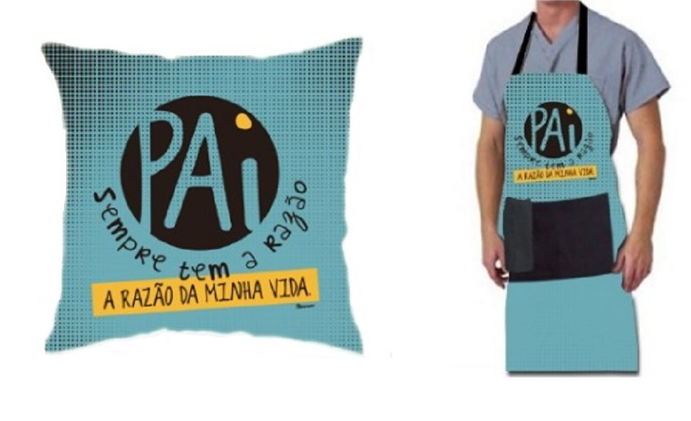 Kit 2 Peças Pai Almofada e Avental + Toalhinha