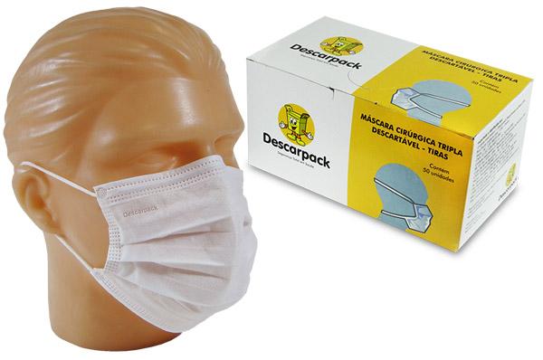 Máscara Tripla c/ Elástico (50 unid.)