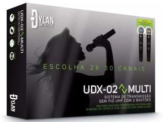 MICROFONE DYLAN UDX02 S/FIO DUPLO 30 CANAIS DE FREQUÊNCIA