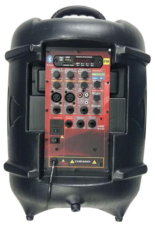 CAIXA ATIVA SUPERTECH TURBINADA PE10 281WR  3 CANAL BLUETOOTH/USB/SD/FM