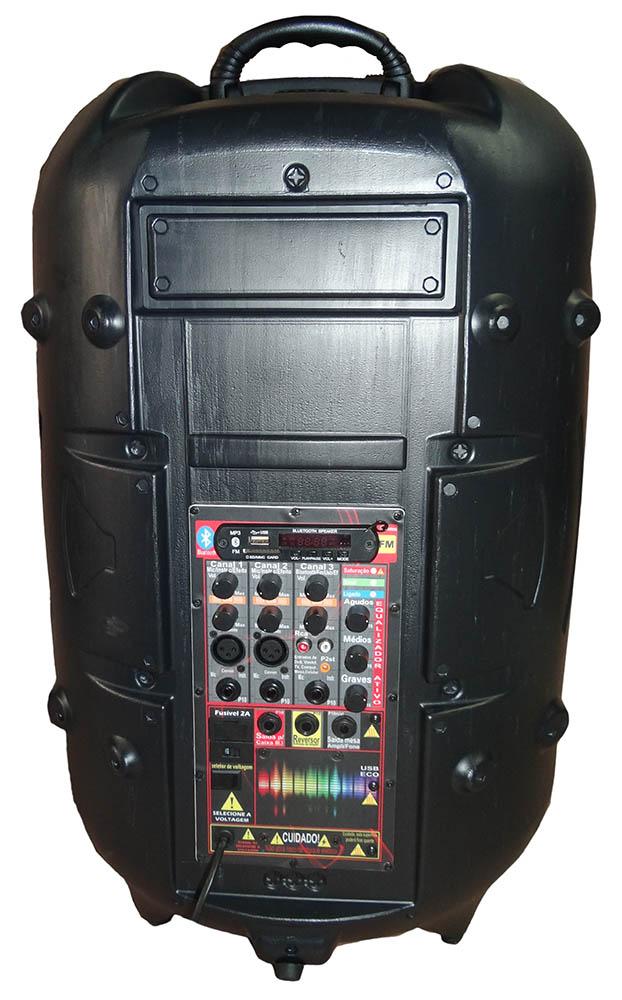 CAIXA SUPERTECH TURBINADA PE15 ATIVA 433WR 3 CANAIS BLUETOOTH,USB,SD,FM,COM EFEITO