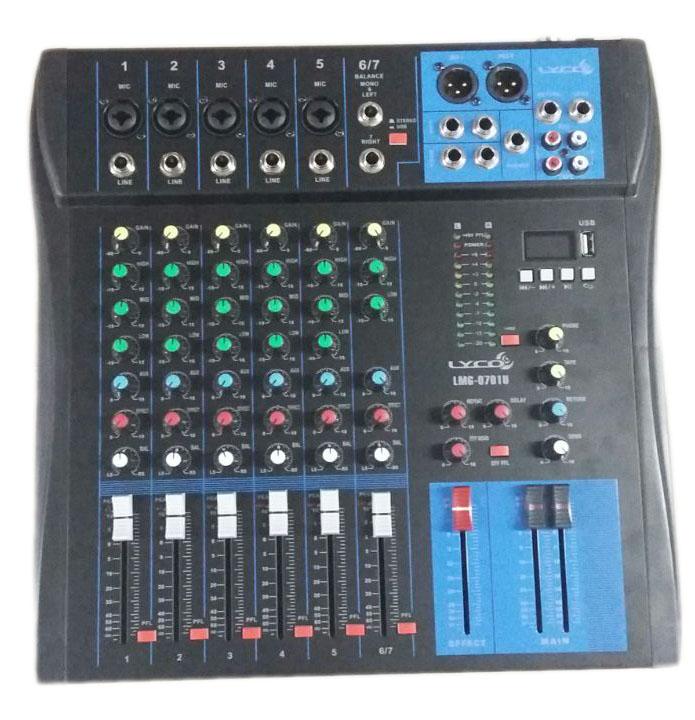 MESA 7 CANAIS LYCO LMG0701U USB 05CANAIS XLR/TRS, 2CANAIS P10, C/EFEITO REPEAT/DELAY, PHANTO POWER