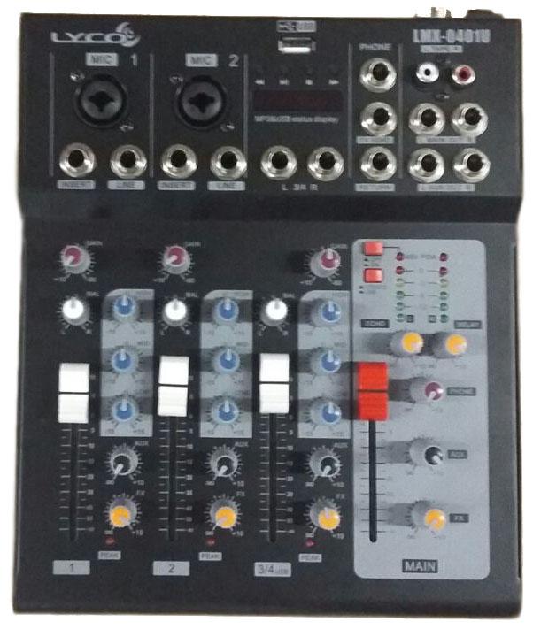 MESA 4 CANAIS LYCO LMX0401U USB, 2 CANAIS XLR/TRS, 2 CANAIS P10 C/EFEITO ECHO/DELAY, PHANTO POWER