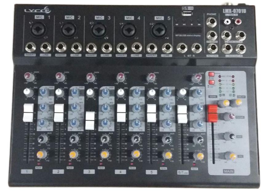 MESA 7 CANAIS LYCO LMX0701U USB, 05 CANAIS XLR/TRS 2 CANAIS P10 C/EFEITO ECHO/DELAY, PHANTO POWER