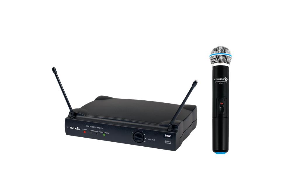 MICROFONE LYCO UH01M UHF 1 FREQUÊNCIA S/FIO MAO 2 ANTENAS