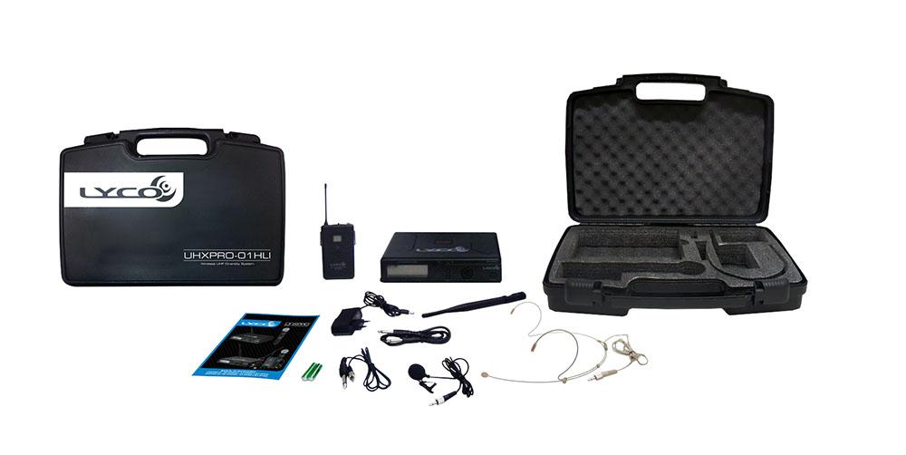 MICROFONE LYCO UHXPRO01HLI UHF 100 FREQUÊNCIA S/FIO HEADSET, CABEÇA, LAPELA, TRANSMISSOR