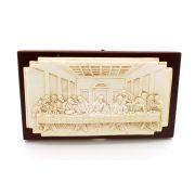 Adorno de Mesa ou Parede Santa Ceia resina e madeira - 15cm