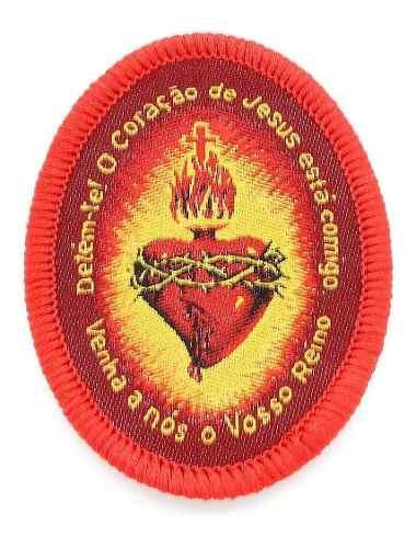 Kit Detente Coração Jesus Tecido Bordado 5,5cm 100 Peças