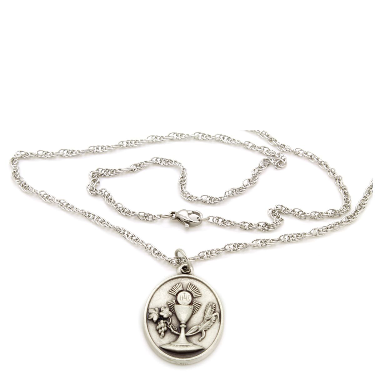 Corrente Colar com Medalha da Eucaristia - Folheada Prata