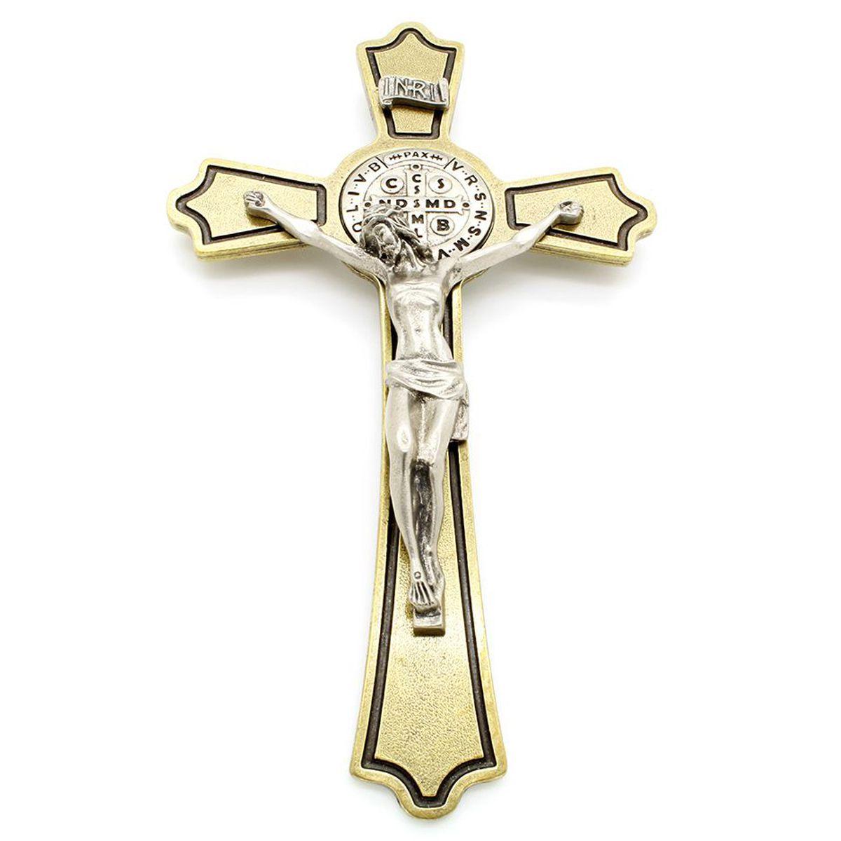 Crucifixo Metal com Medalha de São Bento - 17cm - Parede