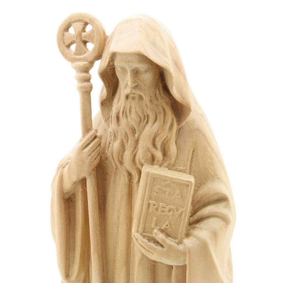 Imagem Escultura São Bento esculpida em madeira - 20cm