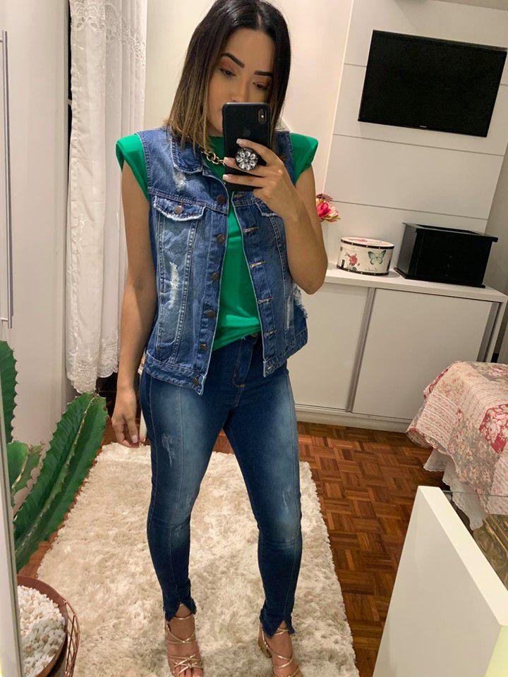 Calça Jeans Skinny Super Alta Destroyed