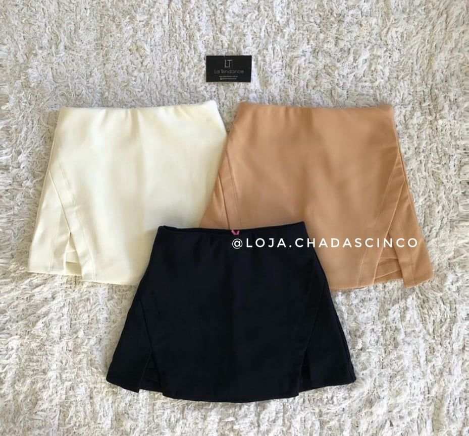 Saia Short Bengaline | Preto e Off White