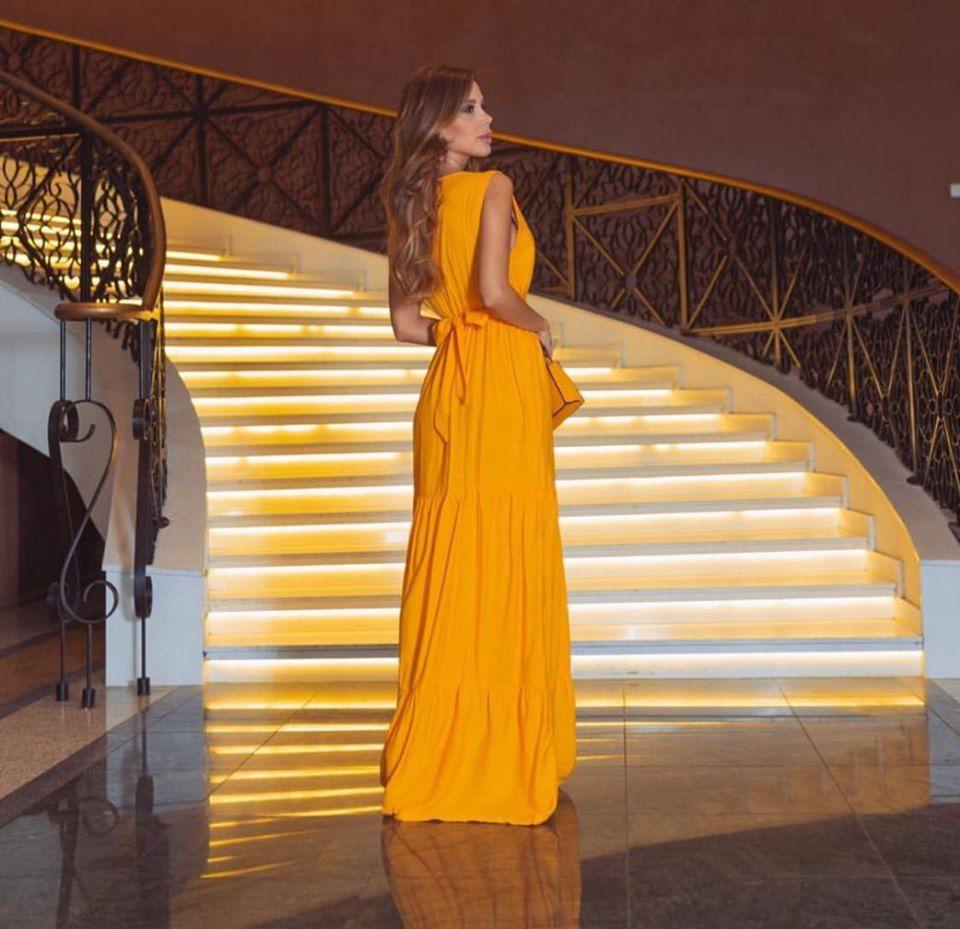 Vestido Longo Viscolinho Amarelo Mostarda