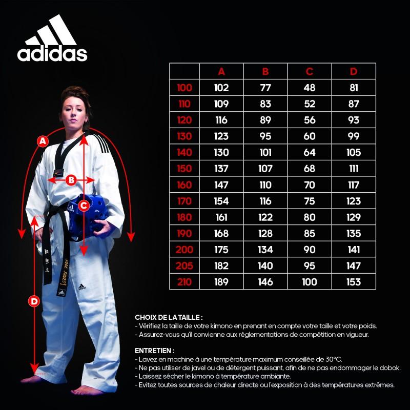 Dobok Adidas Taekwondo Adiclub 3S Gola Preta WT