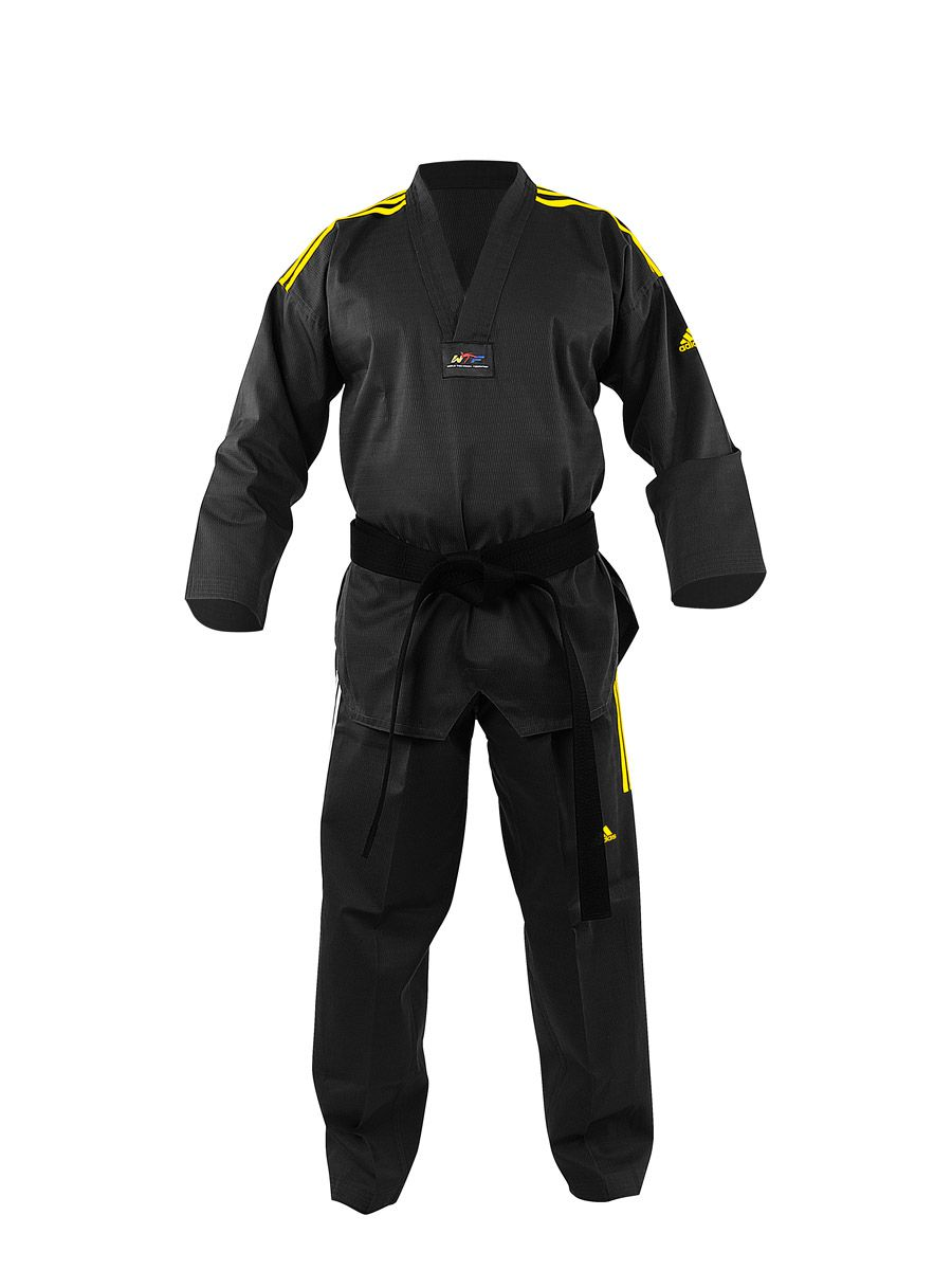 Dobok Adidas Taekwondo Adichamp Preto Homologado WTF