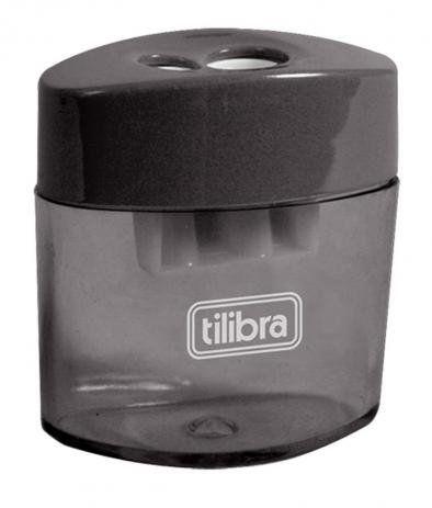 Apontador plástico preto com depósito 2 Furos Tilibra