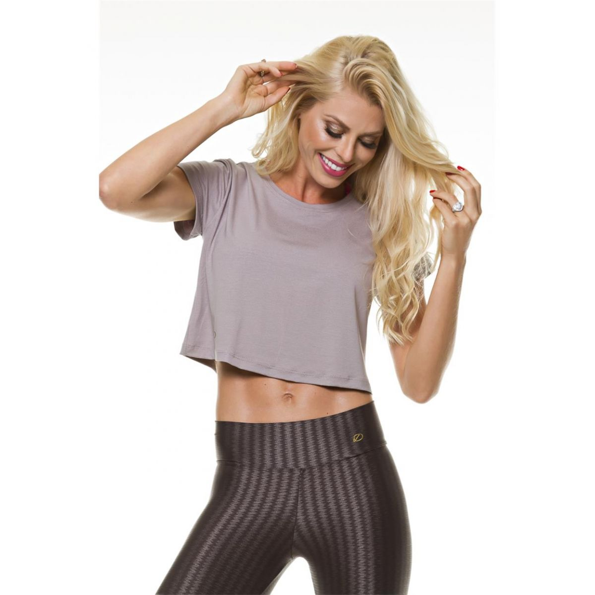 Blusa Cropped Cinza Diva Fitness