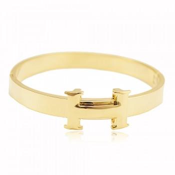 Bracelete H Dourado - Semi Joia