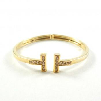 Bracelete T Strass Dourado