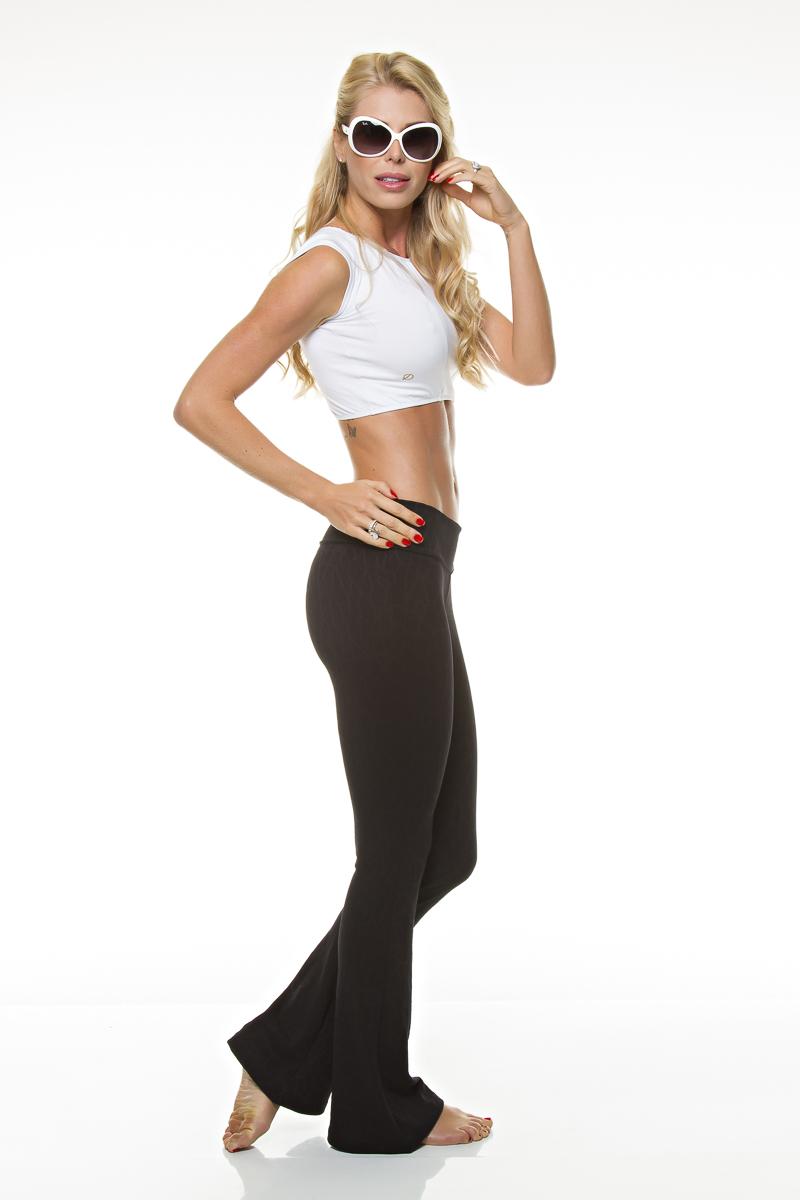Calça Flare Preta Teia Diva Fitness
