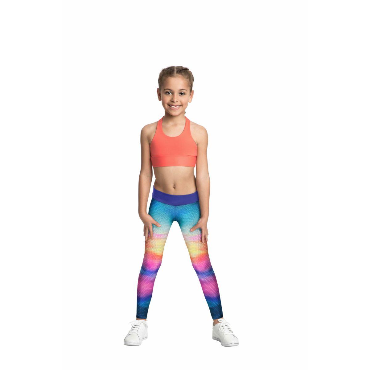 Calça Legging Power Rainbow Kids Live