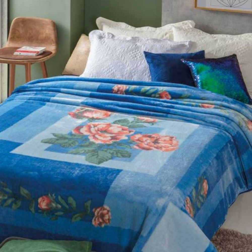 Cobertor Casal Kyor Plus Taormina Azul Toque Macio Jolitex