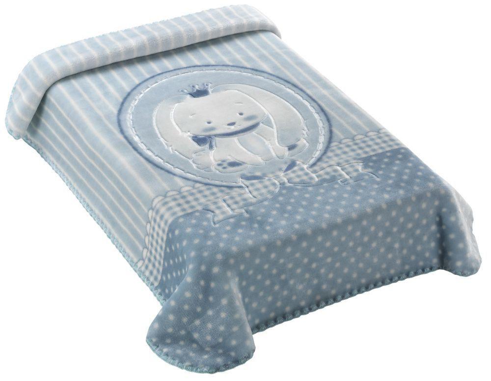 Cobertor Premium Estampado com Relevo Coelho Azul 47660 Colibri