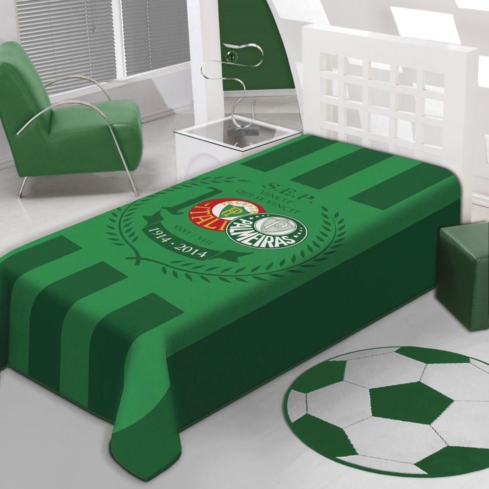 Cobertor Raschel Solteiro Palmeiras 20 Jolitex