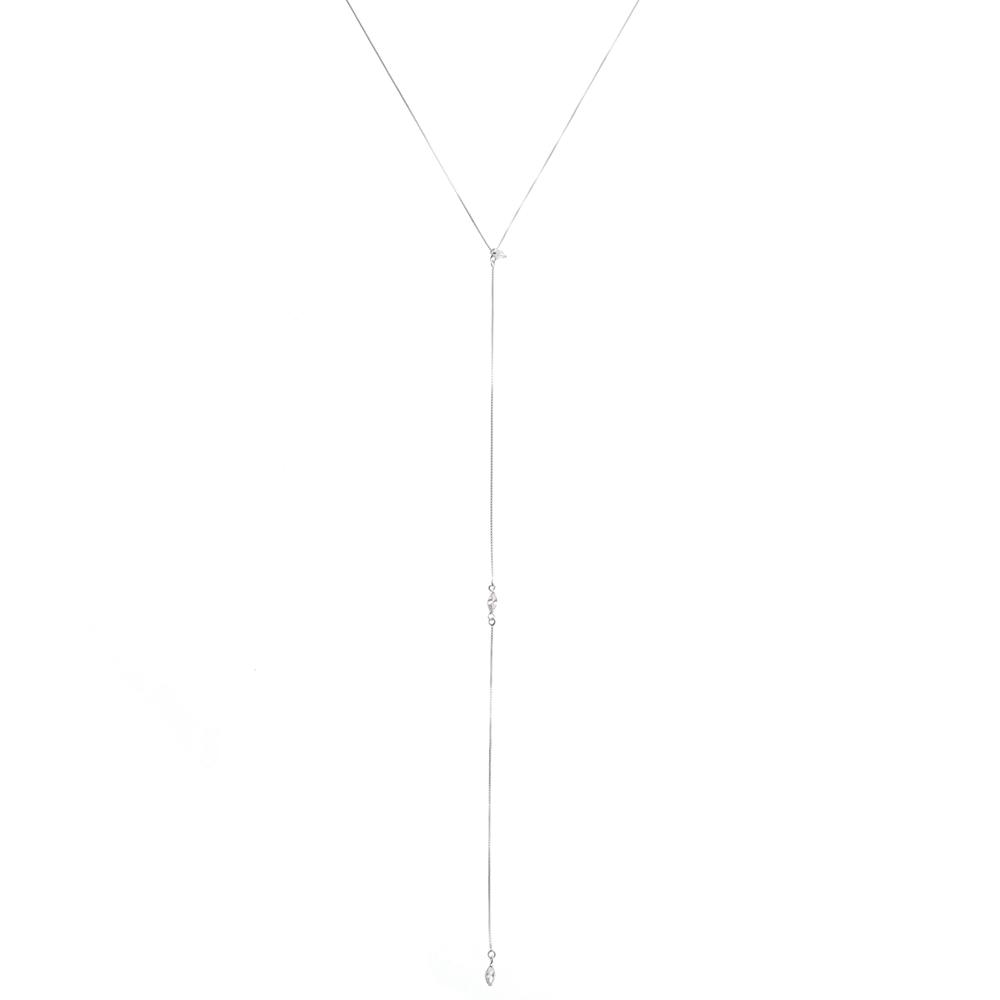 Colar Gravatinha Cristal Prata