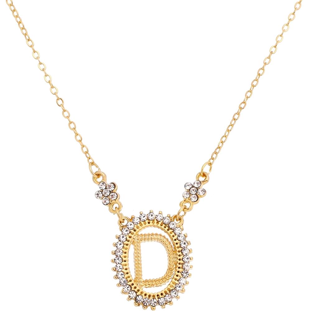 Colar Inicial do Nome Letra D Dourado