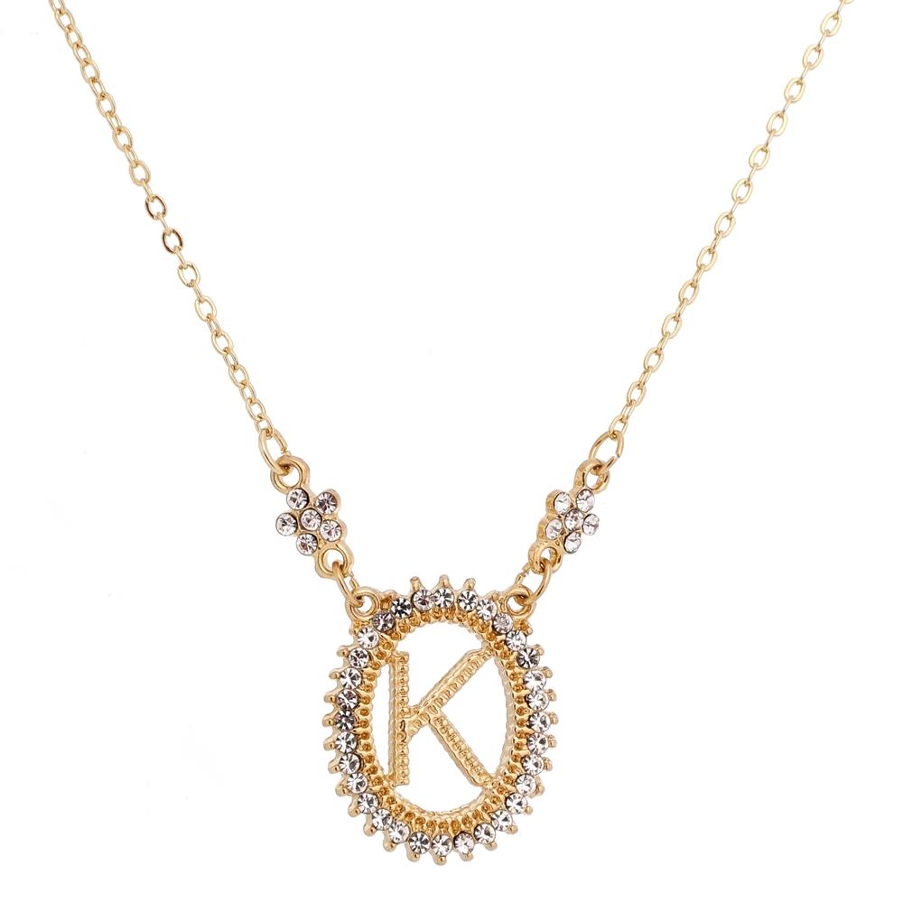 Colar Inicial do Nome Letra K Dourado