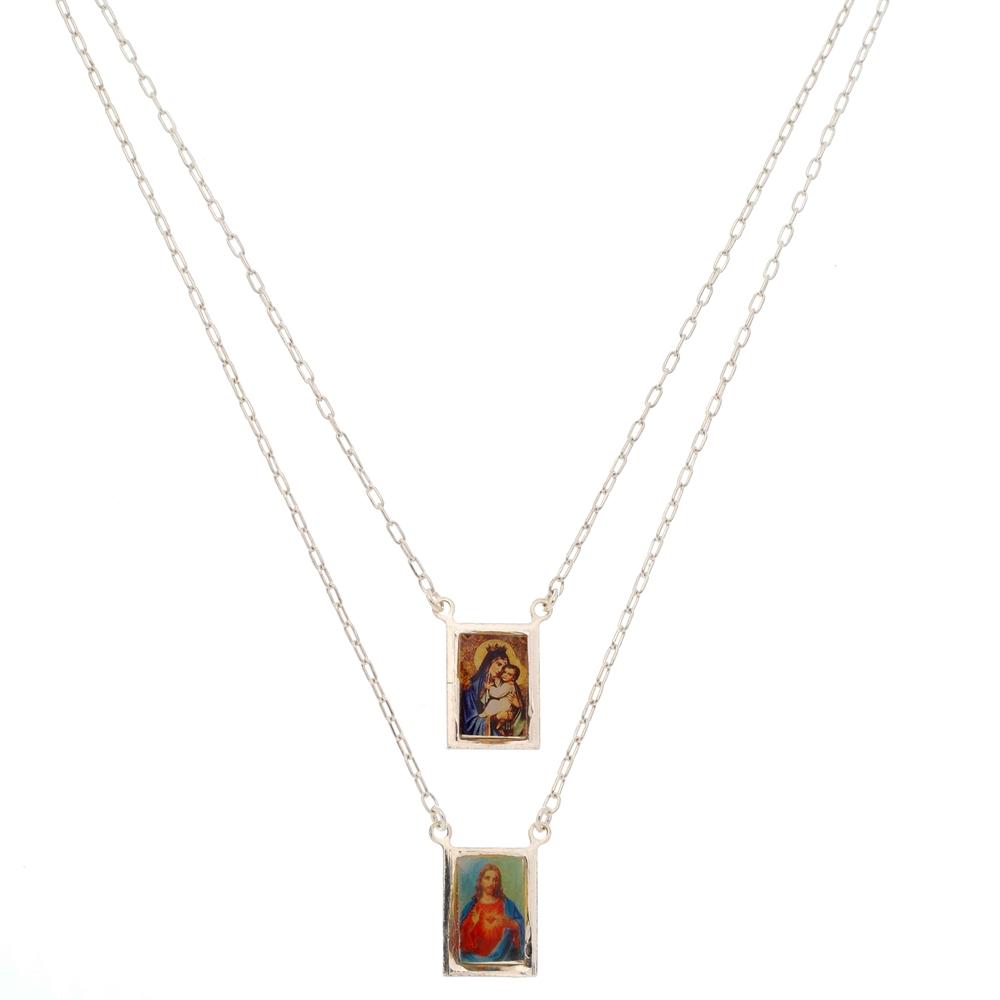 Escapulário Sagrado Coração de Jesus Prata