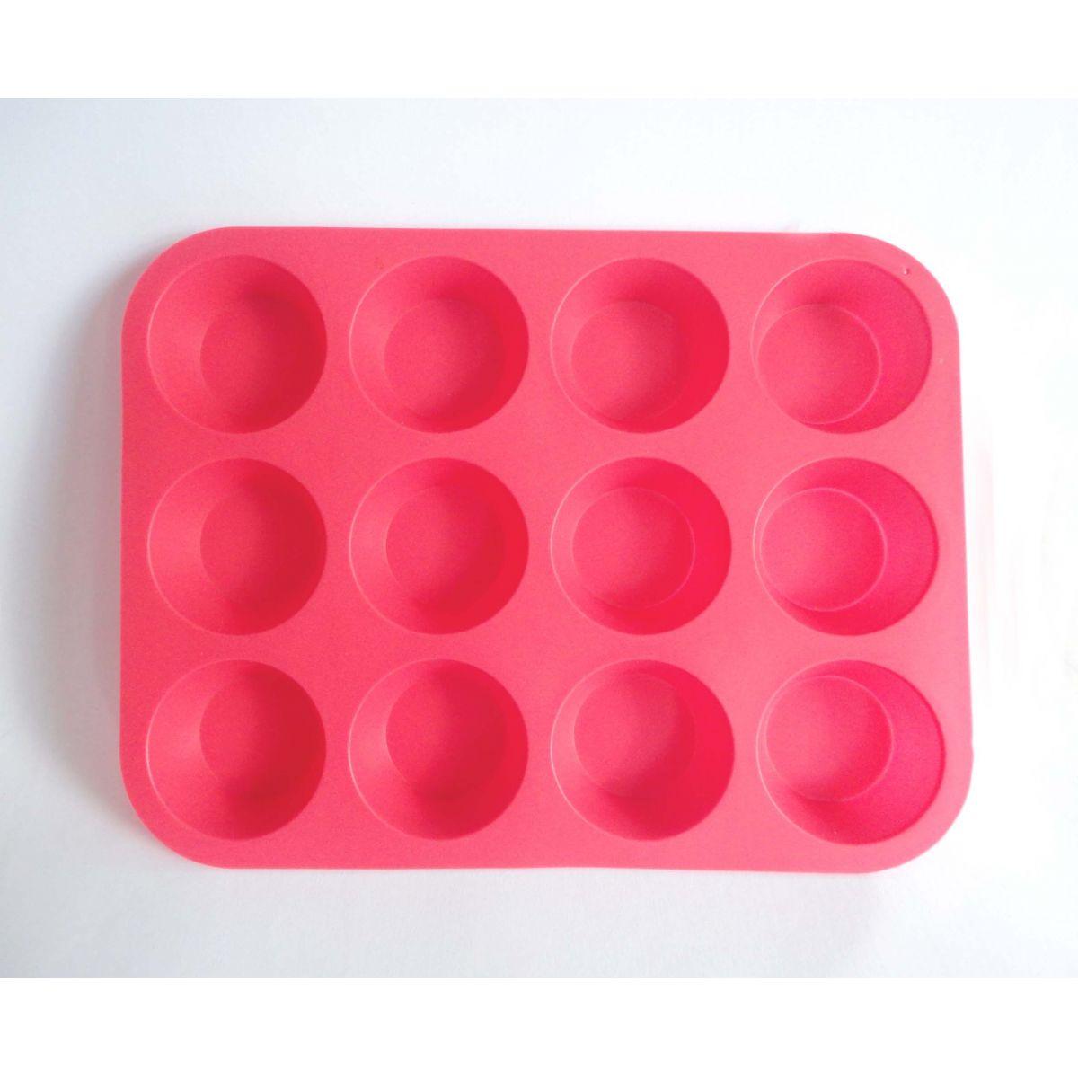 Forma de Silicone Tipo Bandeja para Muffin e Cupcake c/ 12 un